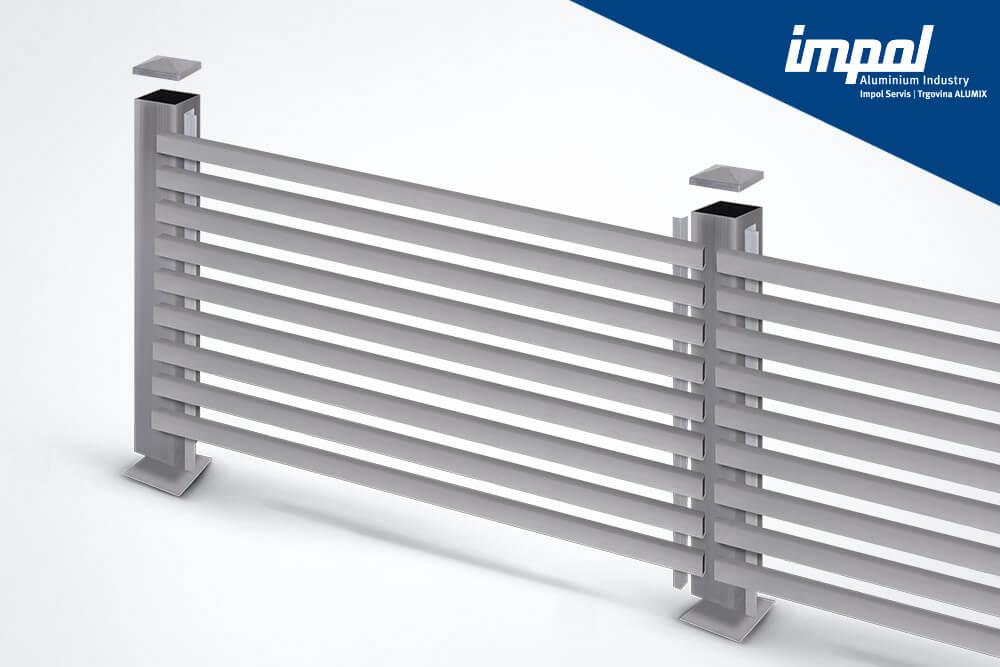 Aluminijasta ograja - Balkonska letev - trgovina Alumix